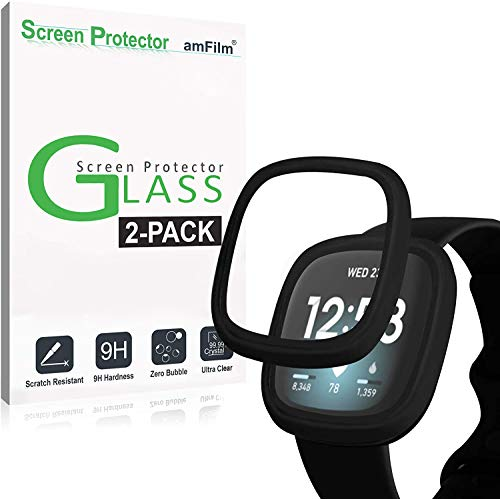 amFilm (2 Pack) Case with Built-in Tempered Glass Screen Protector Compatible with Fitbit Sense/Versa 3