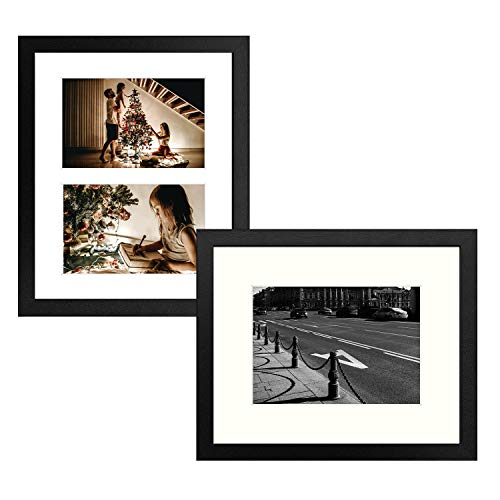 """Golden State Art, Collage Style Picture Frame - Includes Pre-Cut Mats - 8x10"""" for 4x6 or 5x7 Photos, 2 Pack, Black"""