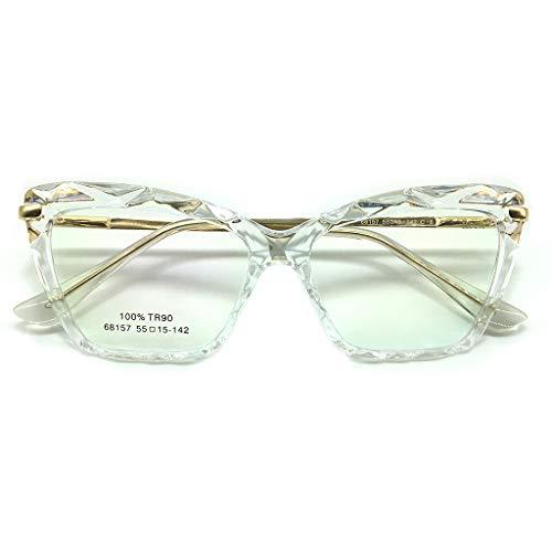 Armação para Óculos de Grau Feminina Cristal Lapidada Facetada Gatinho TR90 Hastes em Aço Lentes Transparentes Tendência Moda Transparente