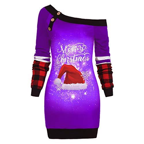 BOLANQ Damen Weihnachten Shoulder Tops Schneeflocke Weihnachten Hut Druck Plaid Pullover Buttons Große Lange Tops(XX-Large,Lila)