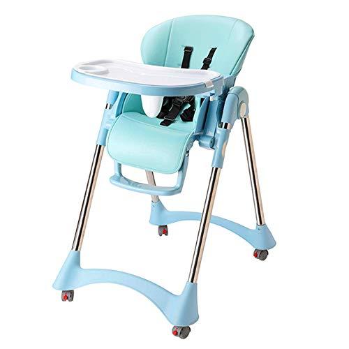 QQXX kinderstoelen, eettafelstoelen, draagbaar, veelzijdig inzetbaar, met katrol verstelbaar voor 0 tot 5 jaar Zhangqiang (kleur: blauw, maat: met wielen) ZQANG4960r-5 Zqang4960r-5