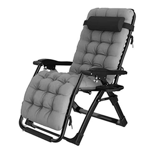 FCXBQ Balkon Büro Entspannungsstuhl Sun Lounger Recliner Chair Relaxer mit Getränkehalter |Klappbare Gartenstühle mit gepolstertem Kissen und FußstützeSessel für Wohnzimmer Lazy Boy, Grau