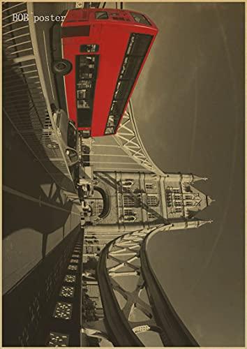 H/A Autobuses Rojos De Londres Y Cabinas Telefónicas Torre De Londres Pintura Retro Sin Marco Wallpapercafé-Bar Carteles Antiguos Decorados D1062 50X70Cm