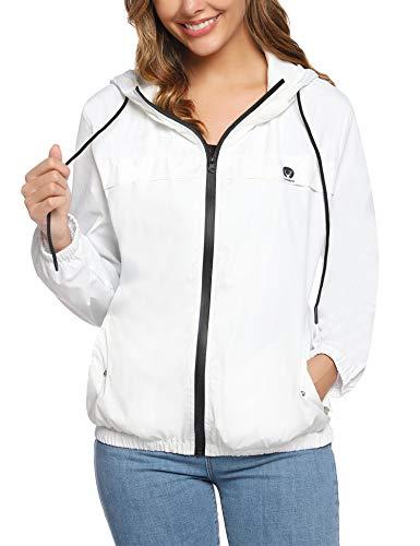 Aibrou Giacche Impermeabili Donna Giacca Antipioggia Impermeabile con Cappuccio Lunga Trench Bianco XS
