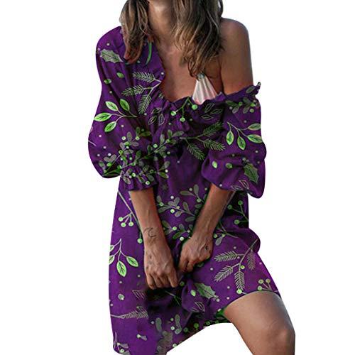 Zylione Damen Sommerkleid Armband Kleider Elegant Kurze Kleid Übergröße Kleid V-Ausschnitt Kleider Minikleid Partykleider Blumendruck Kurze Ärmel Blumendruck Mini Swing Strandkleid Grün 3/4-Ärmel