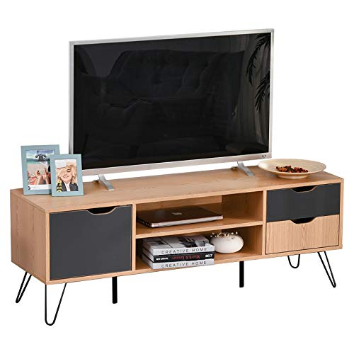 HOMCOM TV Schrank, TV-Kommode, Schrankelement mit Schublade und Offene Regale, Spanplatte, Metall, Grau, 140 x 39,5 x 49,5 cm