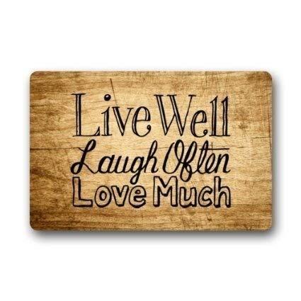 """Lesley Coleridge - Felpudo de franela, diseño vintage de madera con texto en inglés """"Live Laugh Love Entryways"""" (45,7 x 76,2 cm)"""