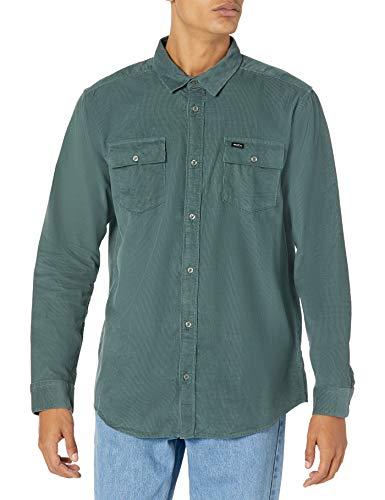 RVCA Herren Freeman Cord Long Sleeve Woven Front Shirt Button Down Hemd, Balsamgrün, XX-Large