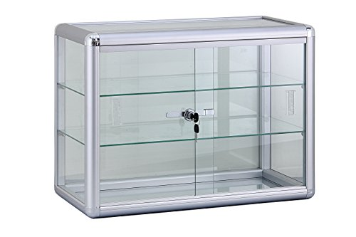 24  W x 12  D x 18  H Glass Display Showcase - Coun top Aluminum Frame Tempered Glass 2 Shelves