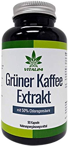 VITAL24 - Grüner Kaffee Extrakt Kapseln hochdosiert ~ starke Konzentration an Chlorogensäure