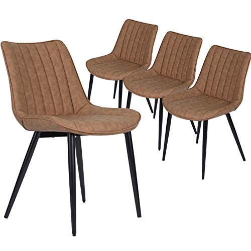 HOMHUM 4 PCS Faux Leather Dining Chairs, Mid Century Modern Leisure...