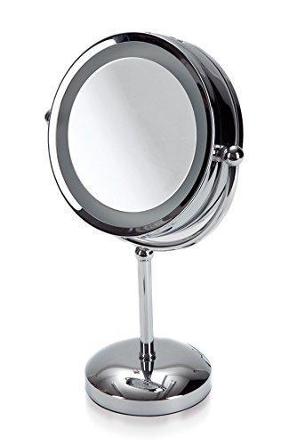 möve Mirrors Standspiegel mit 5fach Vergrößerung und Beleuchtung 22 x 42 cm aus Edelstahl, silver