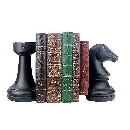 Product Image 1: Decorative Bookends, Unique Book Ends – Supports for Heavy Books, Home Decor Suitable for Office, Home, 7(L) x4(W) x7(H) inch, Black,1Pair/2Piece (Chess bookend)