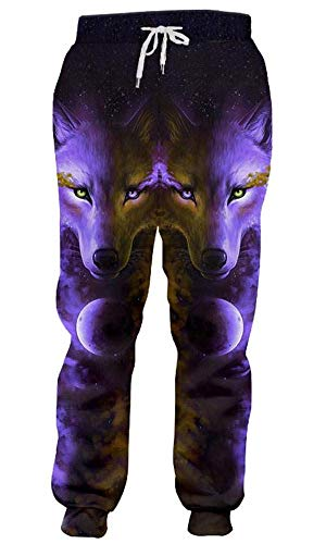 AEOPES Women Joggers Sweatpants Weed Floral Flower Trousers Men Running Pants Angry Wolf M