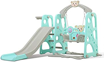 Climber and Swing Set for Kids, 3 in 1 Climber Slide Playset with Basketball Hoop Suitable for Indoor and Backyard Baskets, Plastic Play Slide Climbing Ride for Kids Ages 3 and up (Blue)