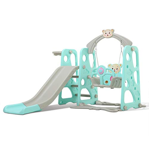 Children Slide Swing Set, 3-in-1 3-9 Years Old Toddler Mountaineering and Music Swing Combination with Basketball Hoop for Indoor and Outdoor Backyard (Blue)