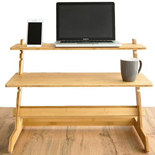 """Crew & Axel Standing Desk Converter 100% Natural Bamboo Adjustable Sit Stand Riser Workstation for Desktop or Laptop, Dual Monitor Stand - Home or Office Use (19"""" High 26"""" Wide) - Includes Phone Stand"""