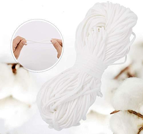 ZITFRI Elastico per Cucito 4mm*50M Corda Elastica Cordino Elastico Bianco Cordoncino Elastico per Cucito Tessuto Cotone per Fai da Te Creativo, Progetti Artistici e Artigianato