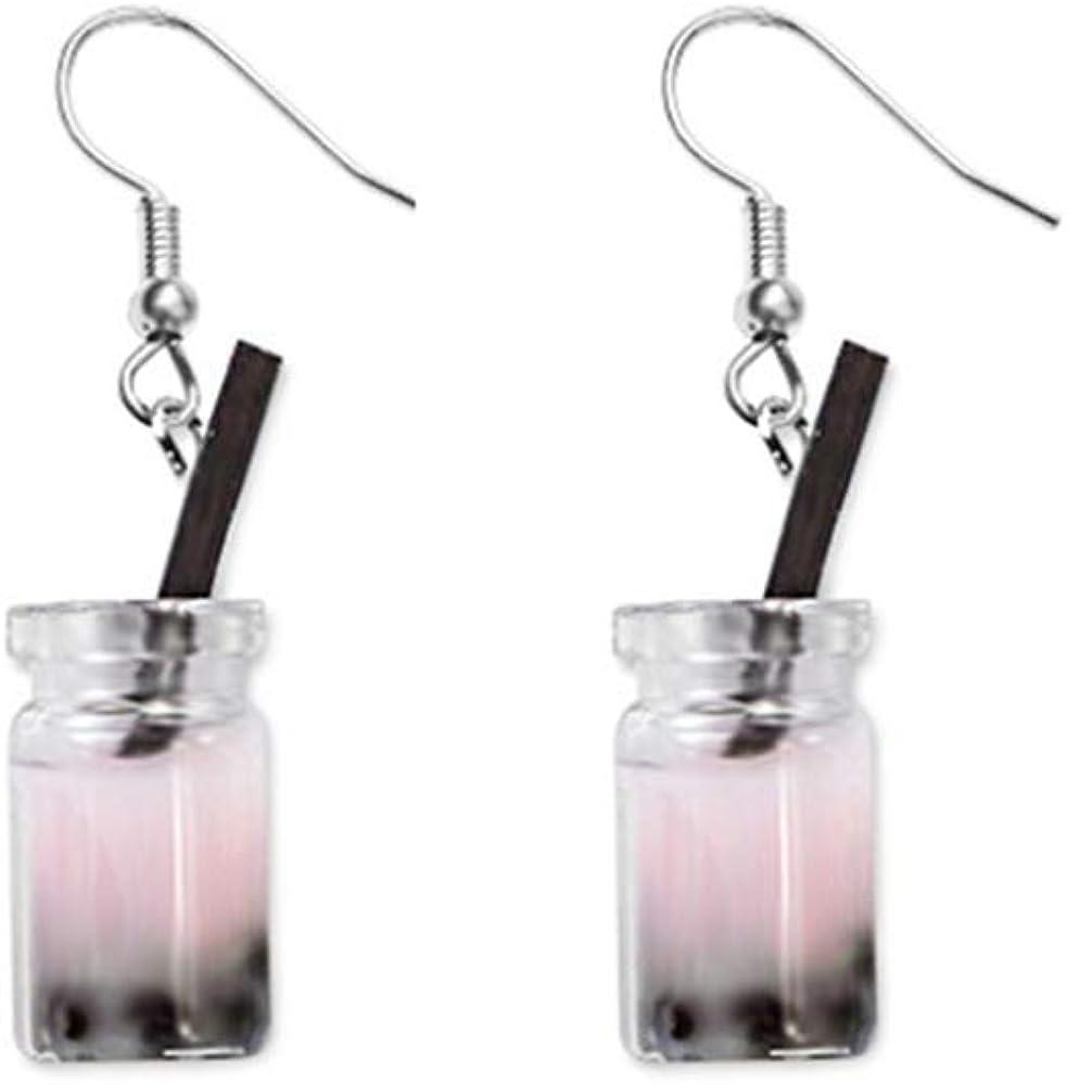 YINLIN Funny Pearl Milk Tea Cup Dangle Drop Earrings Gift Party Jewelry