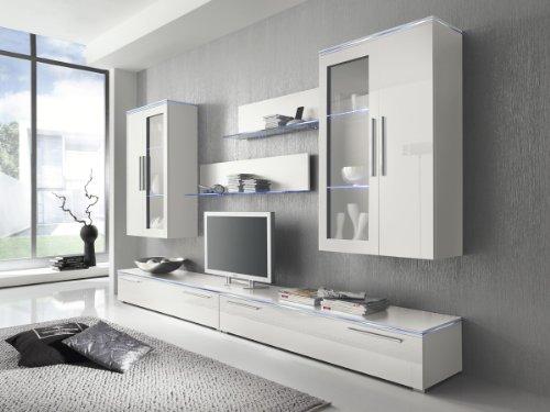Wohnwand Anbauwand weiß, Fronten weiß Hochglanz, optional LED-Beleuchtung, Beleuchtung:Beleuchtung Weiß