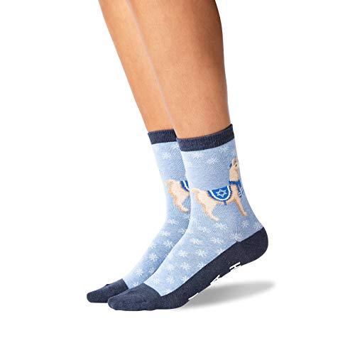 HOTSOX Womens Happy Llamakkah Non Skid Socks 1 Pair, Blue Heather, Womens 9-11