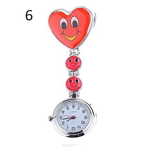 Moda Enfermera Reloj de Bolsillo Dazzler Caras Lindas del Fob de la Broche de Reloj de Bolsillo del Reloj Pendiente del corazón de Clip-On Cuarzo Enfermera para los Relojes de Bolsillo Nurse Doctor