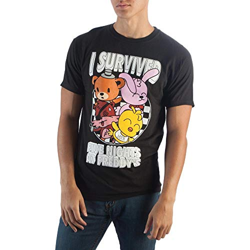 I Survived Five Nights At Freddy's Shirt, Chibi Cute Freddy Fazbear Bonnie Chica Foxy, Checkerboard Pattern Fitted T-Shirt-Small
