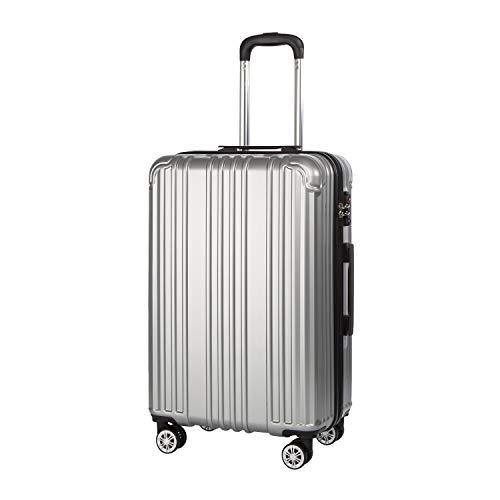COOLIFE Hartschalen-Koffer Rollkoffer Reisekoffer Vergrößerbares Gepäck (Nur Großer Koffer Erweiterbar) PC+ABS Material mit TSA-Schloss und 4 Rollen (Silber, Großer Koffer)