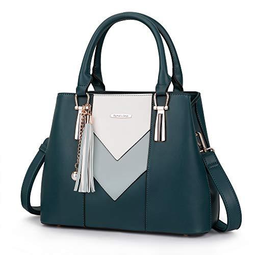 Pomelo Best Damen Handtasche Mehrfarbig gestreift V-förmiges Design (Blau)