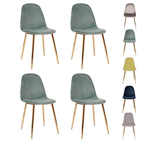 All About Chairs Juego de 4 sillas de comedor de estilo moderno de terciopelo con patas de metal dorado, perfecto para comedor y sala de estar, color verde azulado