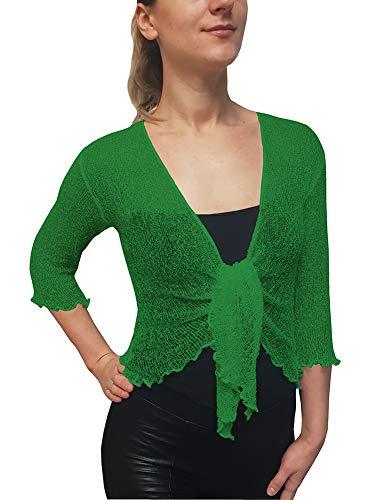 Mimosa Señoras Mujeres Crochet Bolero Brillo y Liso de Encaje Elastico Cardigan Abierto (Talla Unica ES 36-44, Jade Green)