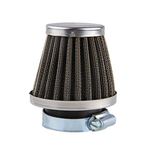 OxoxO 42mm Air Filter for Motorcycle ATV Oval Metallic Clamp-on Refit Intake Funnel Silver
