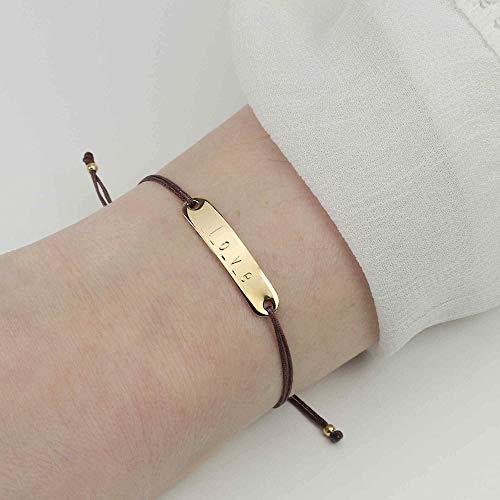 SCHOSCHON Gravurarmband mit personalisierter Gravur 925 Silber vergoldet – Braun // Geschenk Mädchen Teenager ID-Armband Namensarmband Identitätsarmband - 20 Farben