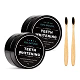 2-Pack Teeth Whitening Charcoal Powder, Natural Activated Charcoal Teeth Whitener Powder with Bamboo Brush Oral Care Set