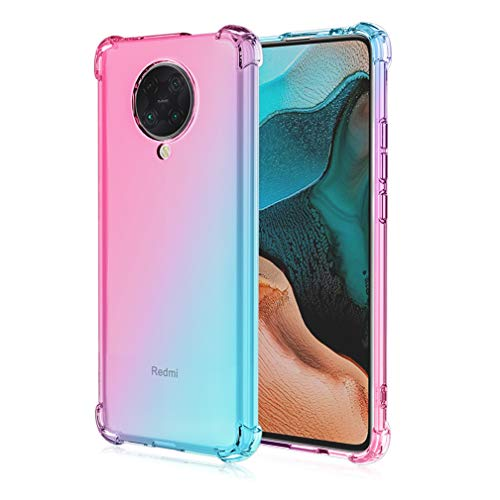 HAOYE Hülle für Xiaomi Poco F2 Pro Hülle, Farbverlauf-TPU Handyhülle, [Vier Ecken Verstärken] Weiche Transparent Silikon Soft TPU Hülle Schock-Absorption Durchsichtig Schutzhülle (Pink/Grün)
