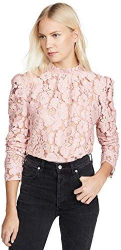 WAYF Women s Emma Puff Sleeve Lace Top Blush Pink Large product image