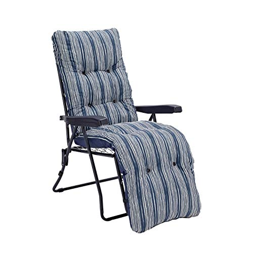 Sainsburys Padded Reclining Sun Lounger Cushioned Chair Set - Navy Blue (Outdoor Garden Deck Chair)