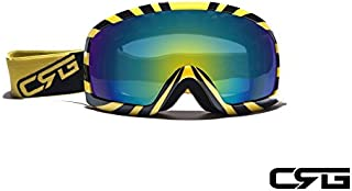 CRG Sports Motocross ATV Dirt Bike Off Road Racing Goggles T815-27-5A T815-27-5A Multi-color lens, yellow frame with black stripe