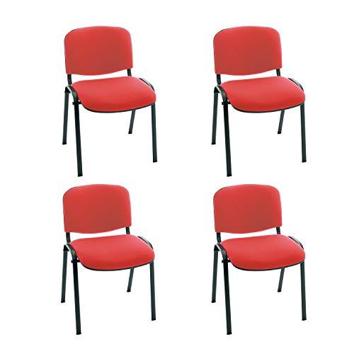 Centrosilla Silla confidente ISO apilables con Acolchado Especial Ideal para Salas reuniones, conferencias tapizada ROJA (Pack 4 Unidades)