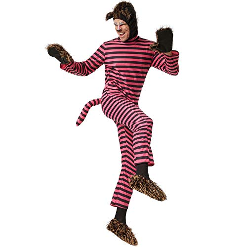 dressforfun 900542 Disfraz de Hombre, Traje Completo de Gato Cheshire, Mono & Complementos, Lila & Rosa, Fiesta Carnaval Halloween -Varios Tamaños - (165   Nr. 302506)