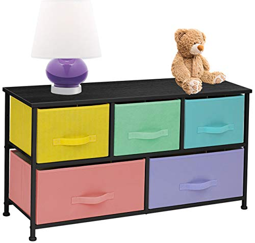 Sorbus Dresser with 5 Drawers - Furniture Storage Chest for Kid's, Teens, Bedroom, Nursery, Playroom, Clothes, Toys - Steel Frame, Wood Top, Fabric Bins (Multi Pastel/Black)