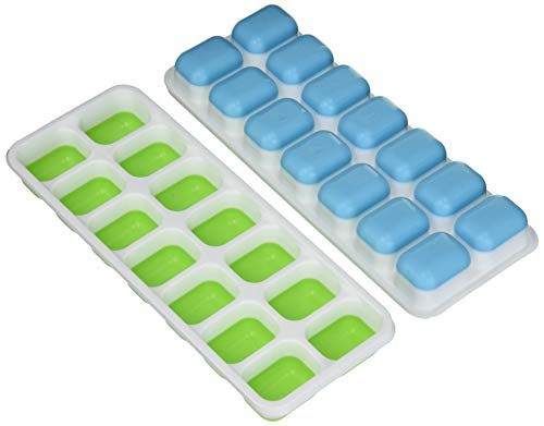 deccle 3 Packs Silicone Lids Easy Release Make 42 Large Flexible BPA Free Stackable Ice Cube Trays, Size:1.5'x 3.9' x 0.81'