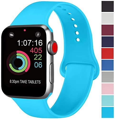 ATUP コンパチブル Apple Watch バンド 42mm 38mm 44mm 40mm、プレミアムソフトシリコン交換リストバンドiWatch Series4/3/2/1に対応、iWatchは含まれていません (38/40 S/M, ティール)