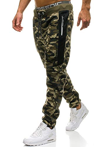 BOLF Herren Sporthose Trainingshose Jogger Army Camo Military Sportlicher Stil P&L Fashion QN271 Grün XXL [6F6]