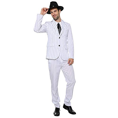 EraSpooky Hombre Traje de Gngster Aos 20 Mafia Boss Disfraz Completo