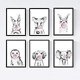 Set 6 posters animales bebes con chicle. Conejo Zorro Llama Buho Perro Elefante.Tamaño A4