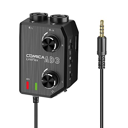 CoMica LINKFLEX AD3 Audio Preamp Mixer Two-Channels XLR/3.5mm/6.35mm-3.5mm Audio Preamp Mixer/Adapter/Interface for 3.5mm DSLR Cameras and Smartphones