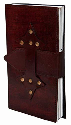Indiary notitieboek van echt leer en handgeschept papier - lederen riem