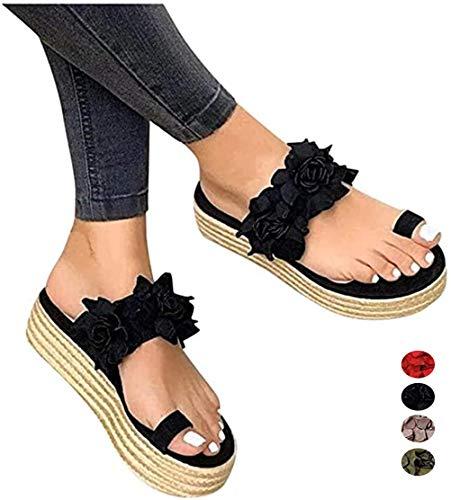 Dames Bunion sandalen Comfortabele zomerpantoffels voor grote teen Casual Dagelijkse bloem Instappers Sandalen Comfortabele sandalen Platform Wedge-slippers voor de zomer,Black,42