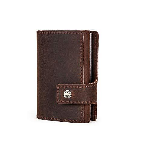 Pop up Card Wallet, metalen portemonnee Card Case, Hiram mannen lederen Pop up portemonnee RFID-blokkering, vintage aluminium zakelijke portemonnee voor mannen en vrouwen (koffie)
